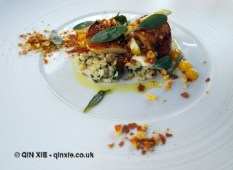 Scallops with curried granola, cauliflower salad, apple caramel, raisin and sea herbs, Ormer by Shaun Rankin, Jersey
