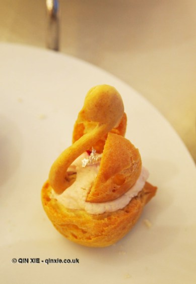 Strawberry Chantilly filled choux bun sprinkled with air dried raspberry, Christmas Afternoon Tea at Wellington Lounge
