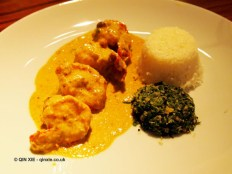 "King prawns ""malai"" curry with spinach and coconut ""poriyal"" ghee rice, NYE 2013, Cinnamon Kitchen"