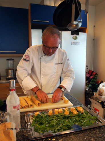 Making reindeer rolls, Finnish cooking with Tomi Laurila, Helsinki