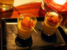 Spiced sweet corn soup with masala corn fritter, NYE 2013, Cinnamon Kitchen