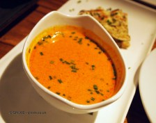 Spiced lobster broth flamed with cognac served with thyme naan, NYE 2013, Cinnamon Kitchen