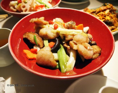 Seabass and mushrooms, Chinese New Year at Yauatcha, London