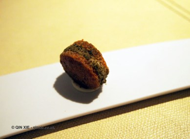 Parmesan crisp with burrata and anchovy cream, Enoteca Pinchiorri, Florence