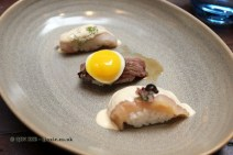 Scallops, maca emulsion, cushuro, chalaca, Silverside fish, nori and leche de tigre emulsion, Outside skirt, quail egg, ponzu, Nikkei Sunday at Lima, London