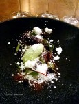 Pear and blackcurrant, sorrel ice cream and yoghurt, Five Fields, Chelsea
