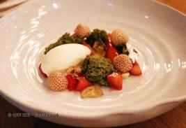 English strawberries & elderflower, matcha tea, white chocolate sorbet, Dessert bar, Pollen Street Social, London