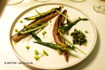 New mackerel, lightly smoked with asparagus, dandelion, maple flower, sour cream sauce, Gastrologik, Stockholm