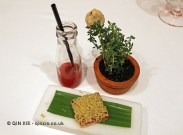Red fruit gazpacho, terrine with rhubarb gelatine and pistachio foie gras, white chocolate foie gras, The Yeatman, Porto