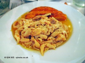 Slow cooked tripe served in its cooking juices with potato rosti, La Merenda, Nice