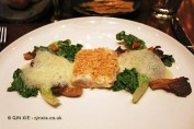 Baked snapper, salad, kale, almonds, Saltvand at Henkes, Shanghai