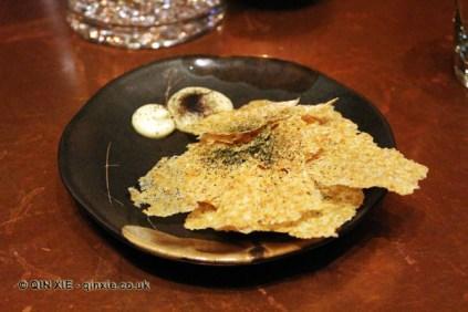 Crispbread with seafood sauce, Saltvand at Henkes, Shanghai