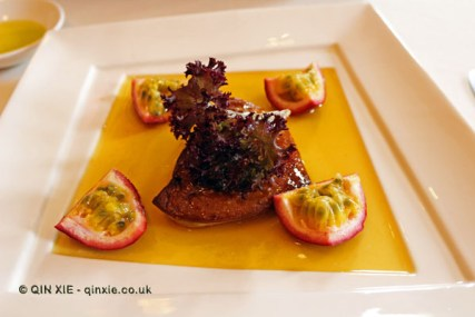Pan fried foie gras with fig sauce and passion fruit, Restaurant Martin by Martin Berasatgui, Shanghai
