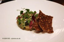 Salmon tartare, barley, tarragon, rye bread, herbs, Saltvand at Henkes, Shanghai