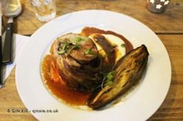 Lamb breast, romesco, charred aubergine, yogurt, flatbread, James Ramsden's Secret Larder Supper Club