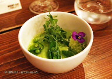Peas & mint, Mount Gay rum Storied Supper at Dabbous, London