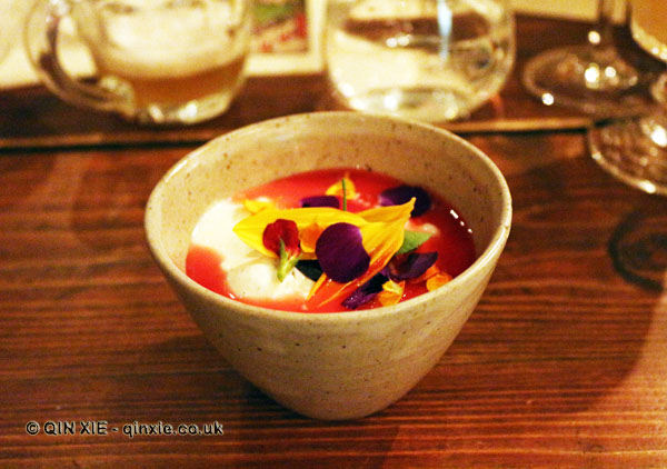 Scottish raspberries, strained yoghurt, barley & marigolds, Mount Gay rum Storied Supper at Dabbous, London