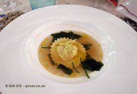 Raviolo of Florida shrimp in 'sea water', James Beard American Restaurant, Milan