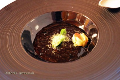 Squid as a risotto, butter flower at Pedro Subijana Akelarre, San Sebastian