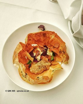Cracker bread with hummous at Celeste Restaurant, The Lanesborough, Knightsbridge