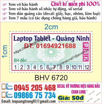 In tem bảo hành giá rẻ Quảng Ninh, ship code toàn quốc