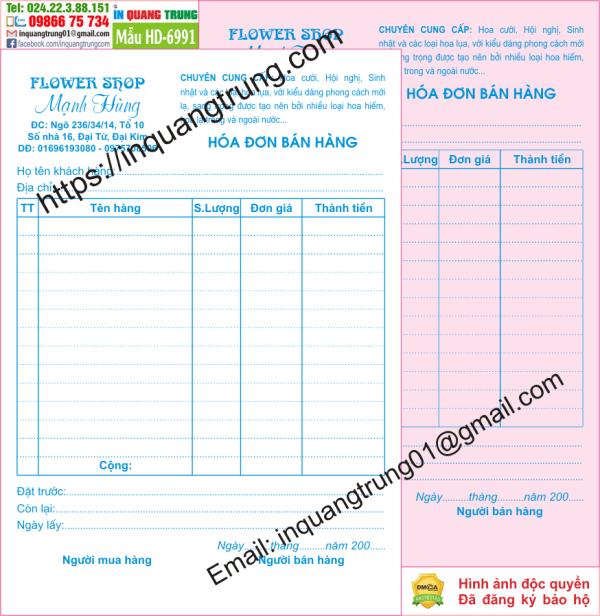 In hóa đơn bán hàng tại Đắk Nông