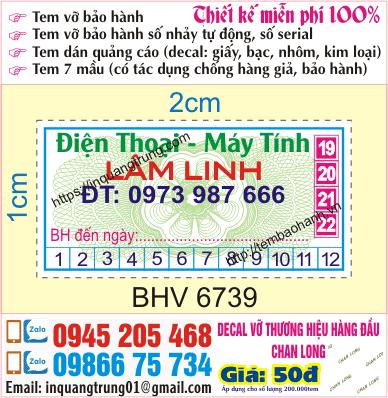In tem bảo hành giá rẻ tại Long An, uy tín chất lượng, có bảo hành