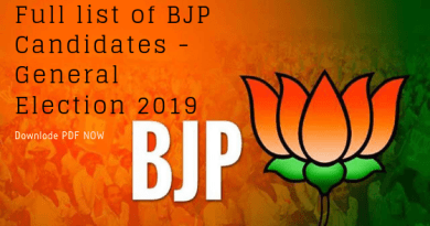 Full list of BJP Candidates Downlode PDF