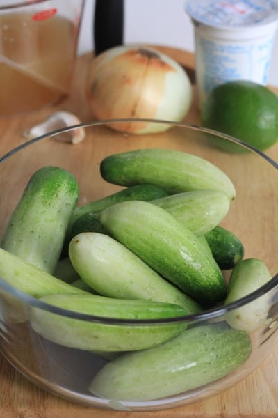 Cucumber Gazpacho with Shrimp Relish