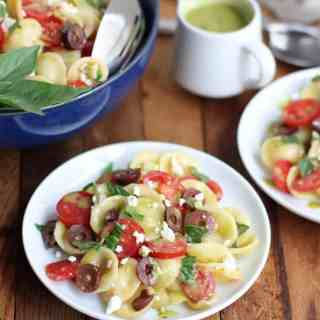Greek Pasta Salad with Feta, Tomato, Kalamata Olives and Sweet Basil Vinaigrette
