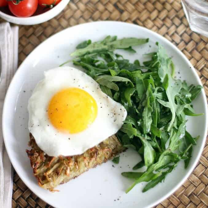 Crispy Skillet Hash Browns with Fried Eggs and Arugula