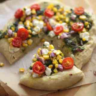 Sweet Corn, Pesto, and Goat Cheese Pizza