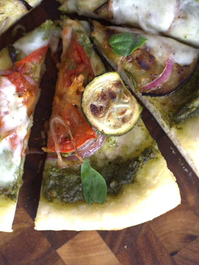 Grilled Summer Vegetable and Pesto Pizza {Sponsored Post}