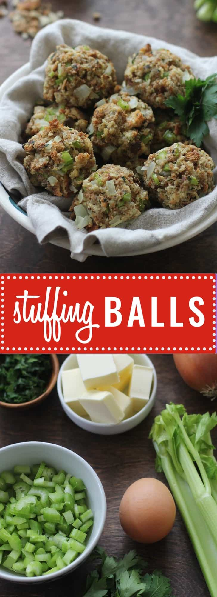 Stuffing Balls- A delicious holiday favorite reinvented. Rolled into balls and baked, a classic stuffing gets golden brown and crisp on the outside. Try it.