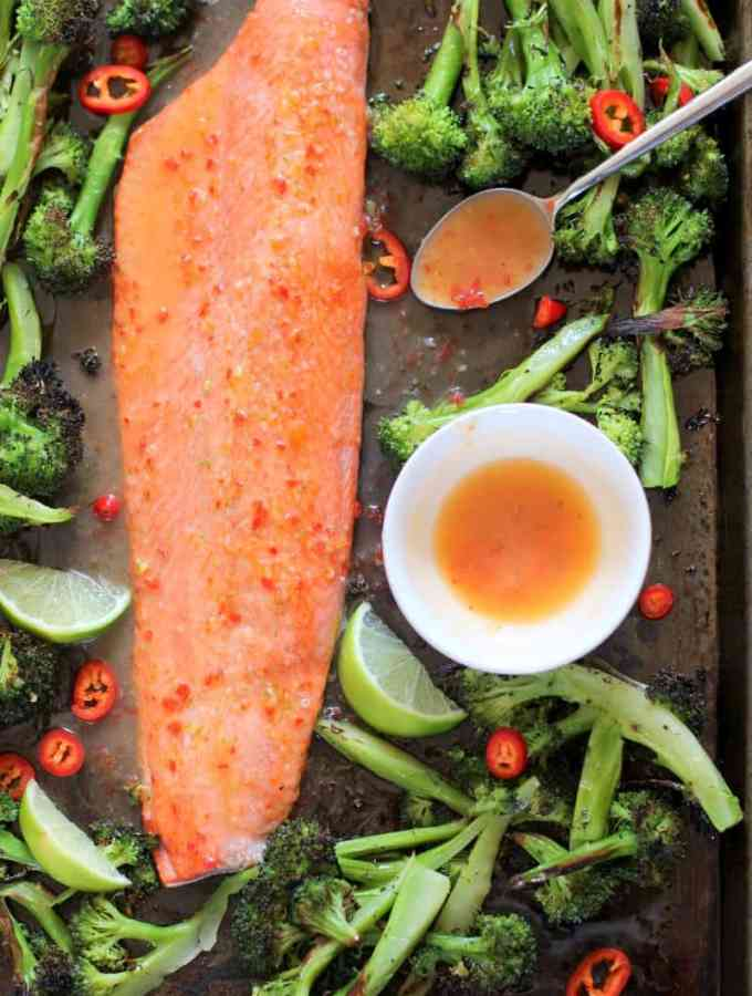 Salmon with Sweet Chili Lime Butter and Roasted Broccoli