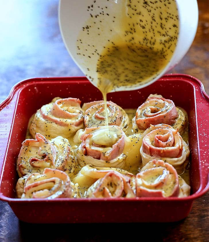 Baked Ham and Cheese Rolls