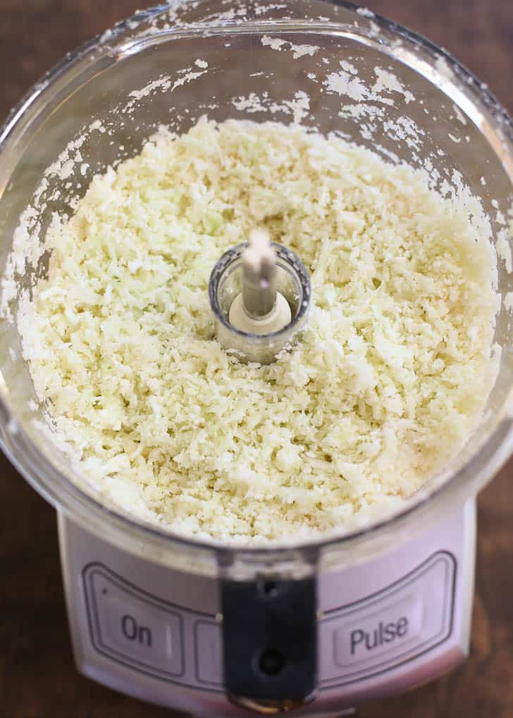 How to Make Cauliflower Rice - Cauliflower rice in the food processor