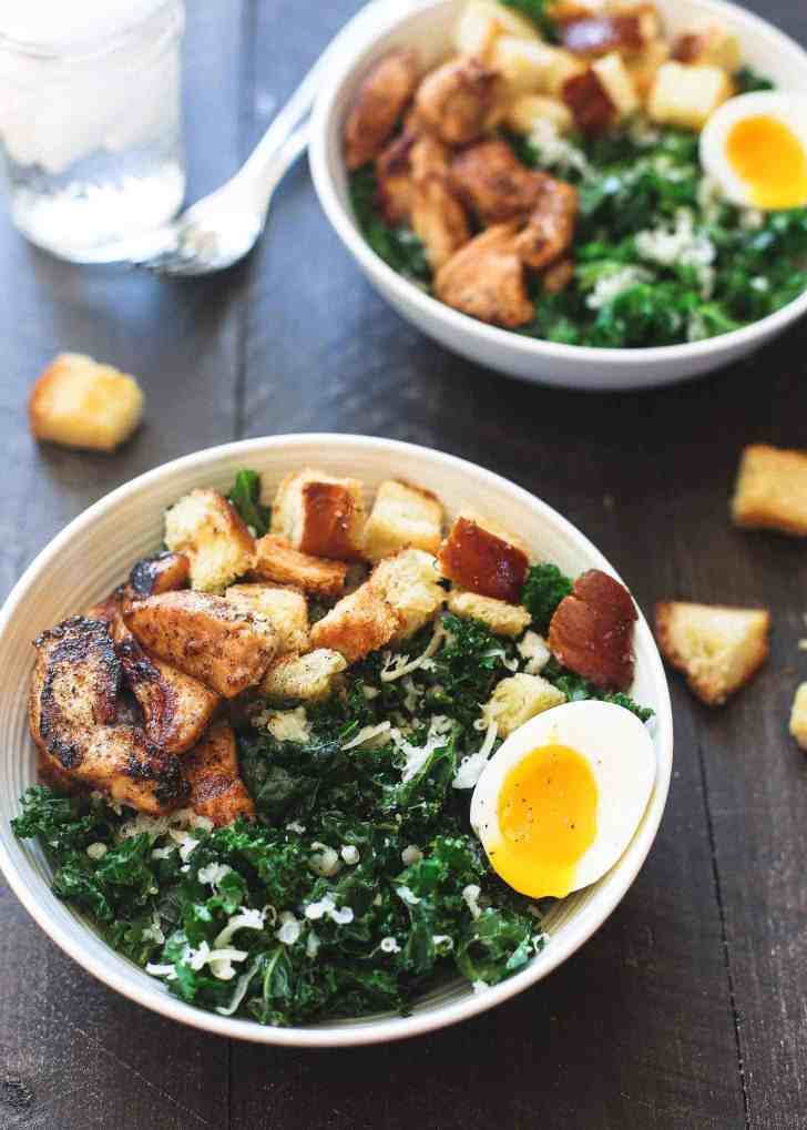 Kale Salad with Chicken and Soft Boiled Eggs