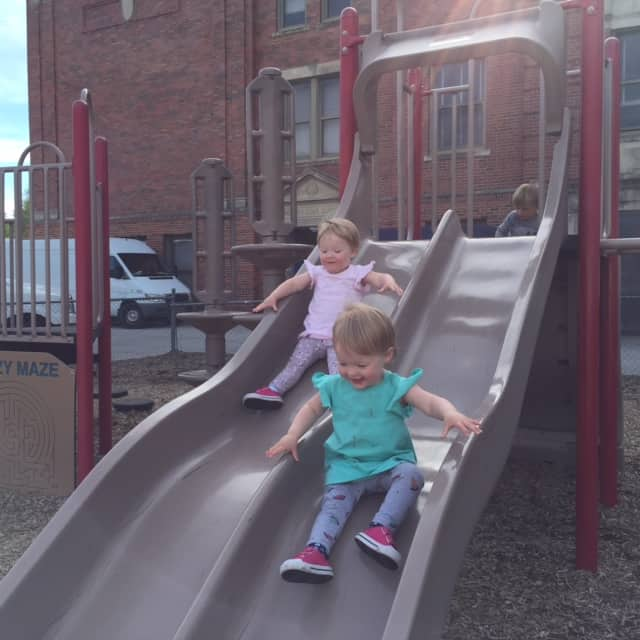 Molly and Clara Sliding
