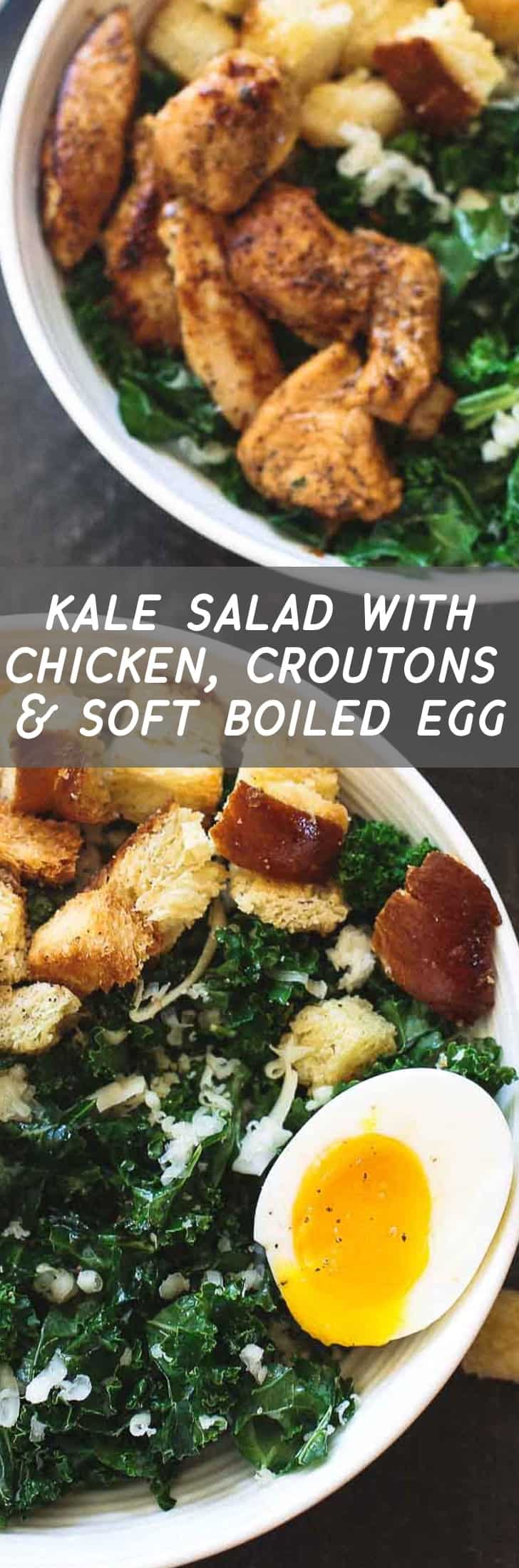 Kale Salad with Chicken, Croutons and Soft Boiled Eggs is packed with protein (24 grams if anyone's counting), light enough for lunch with only 360 calories and filling enough for dinner. And full of so much flavor you'll want it for both!