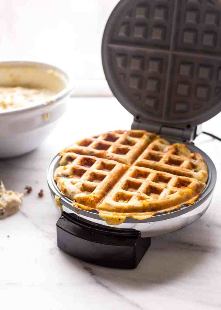 Cooking Savory Waffles with Sausage and Cheddar