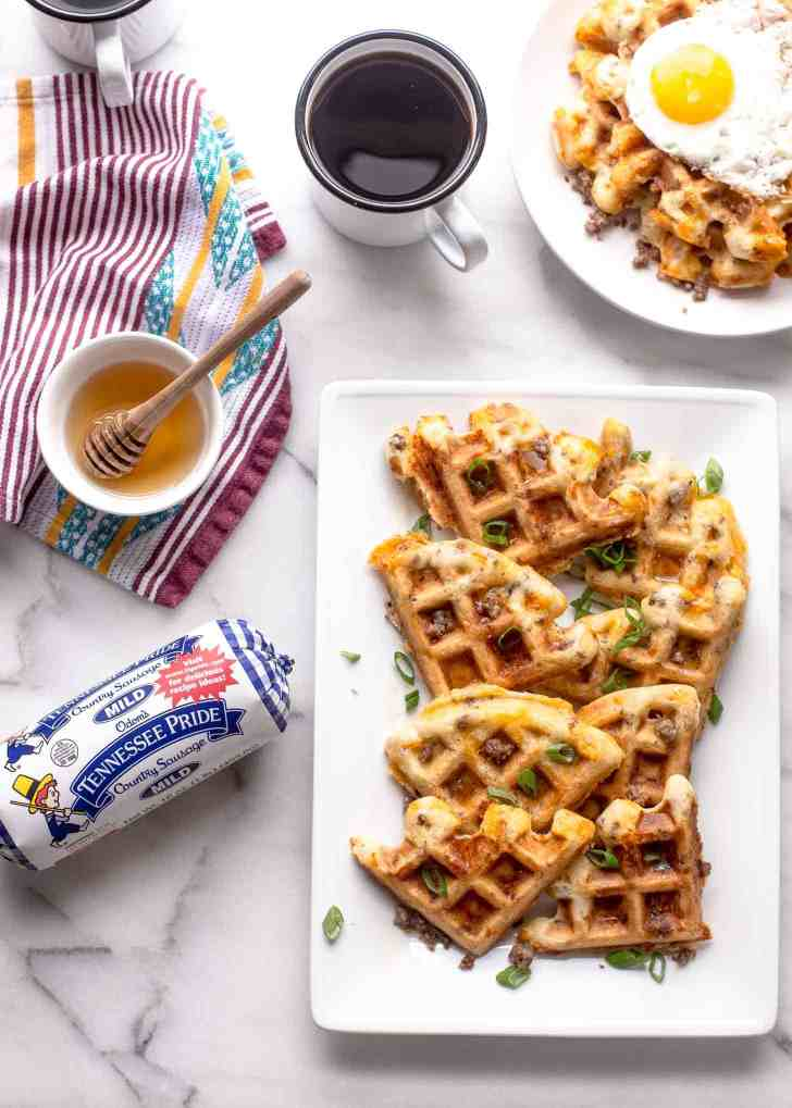 Savory Waffles with Sausage and Cheddar