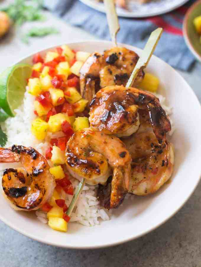 Sweet and Spicy Grilled Shrimp with Pineapple Salsa