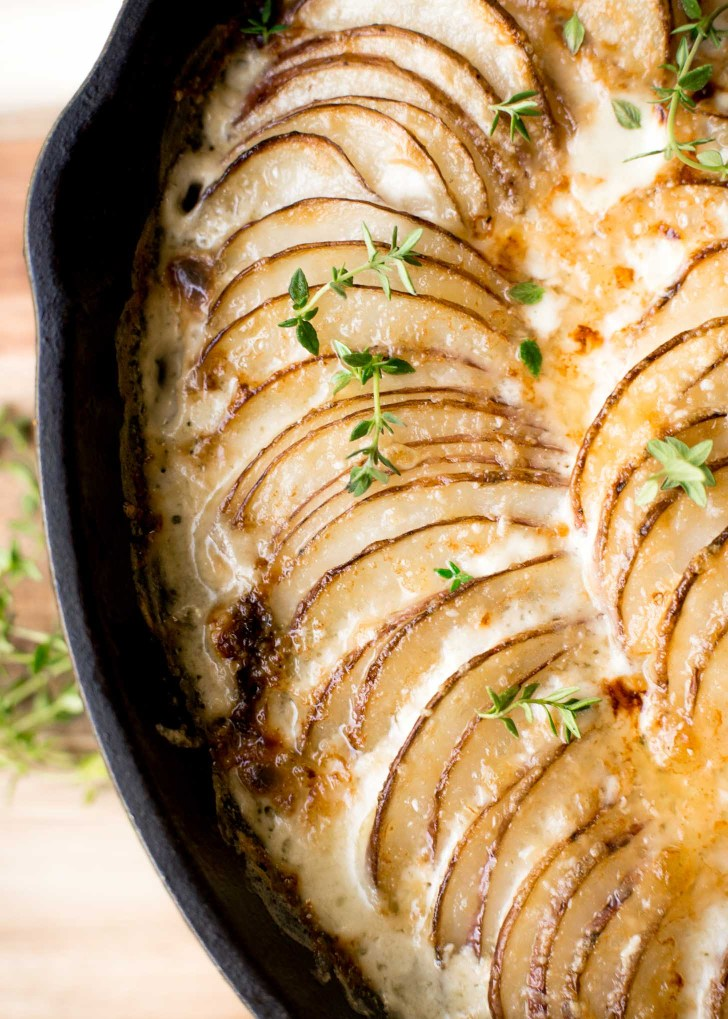 Creamy Au Gratin Potatoes with Kale and Gruyere