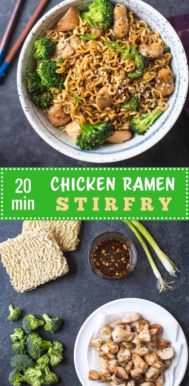 20-Minute Chicken Ramen Stir-Fry - This easy ramen stir-fry uses chicken, broccoli, and ramen noodles. It's saucy, fast, and uses kitchen staples. Dinner tonight for the whole family!