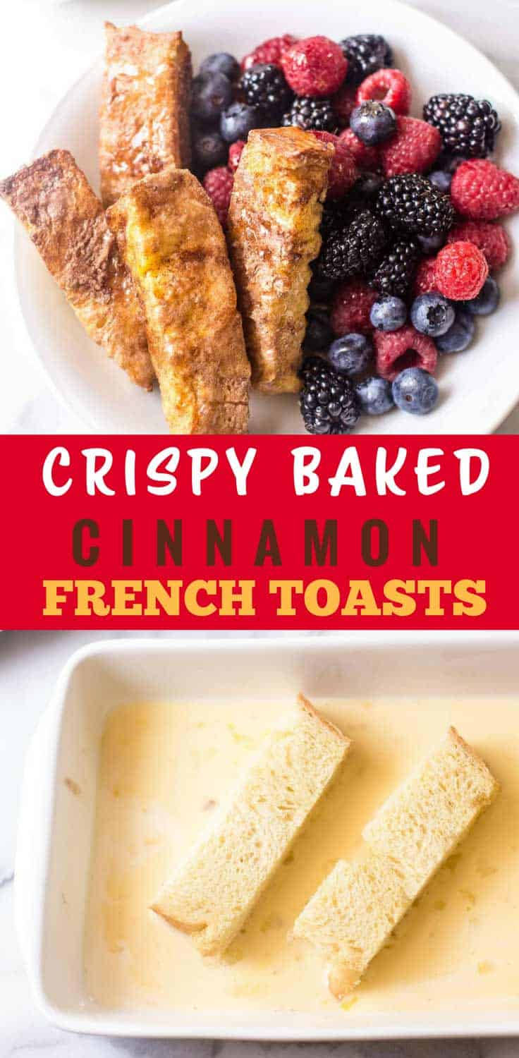 Crispy Baked Cinnamon French Toast Sticks {Video} - Thanks to a quick dunk in cinnamon sugar, these Baked Cinnamon French Toast Sticks come out of the oven crispy on the outside and tender and soft on the inside. Check out the video step by step tutorial!