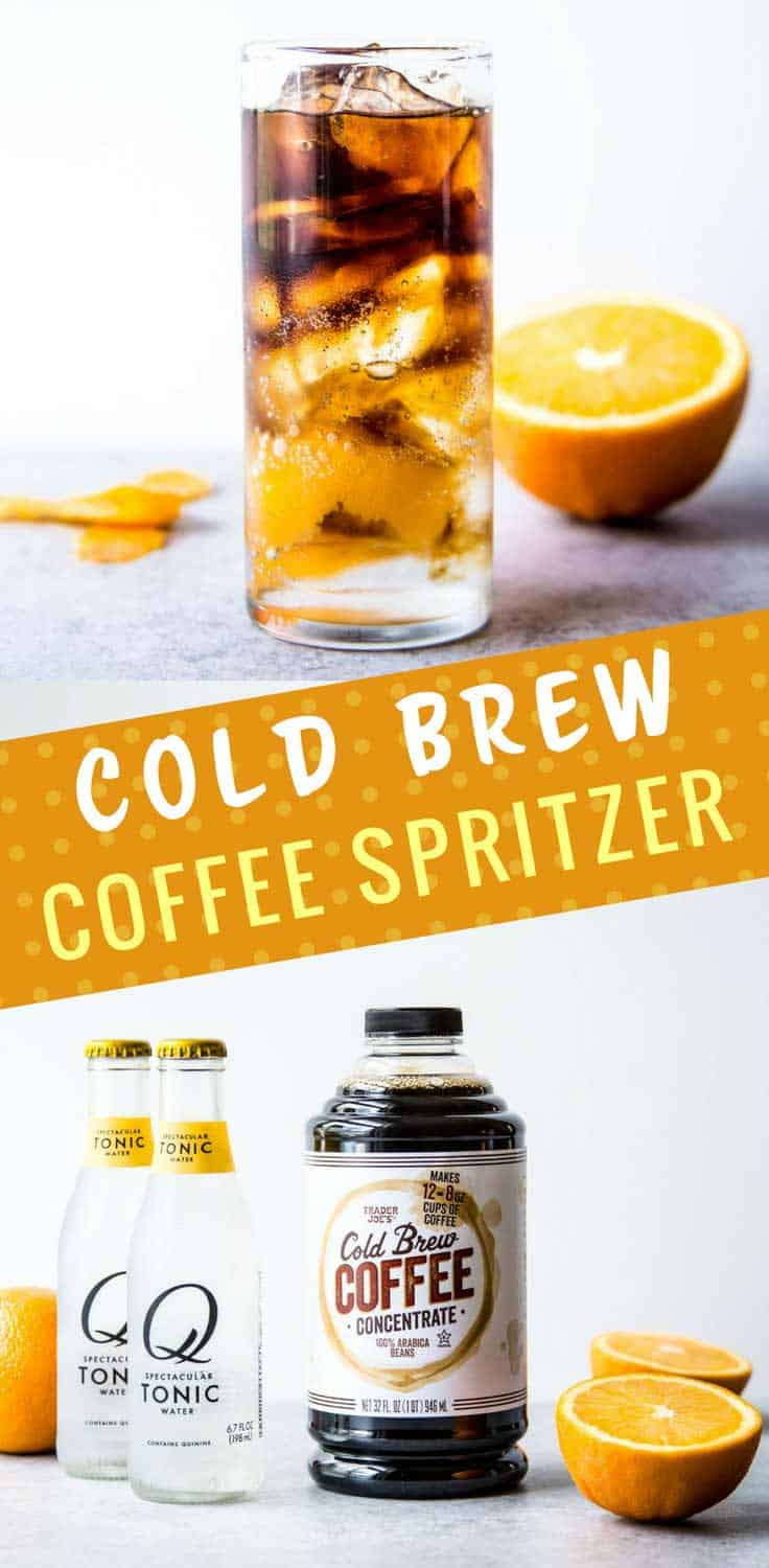Cold Brew Coffee Spritzer - Cold brew coffee, sparkling water or tonic and a bit of citrus make these cold brew coffee spritzers the most refreshing caffeinated pick-me-up around.