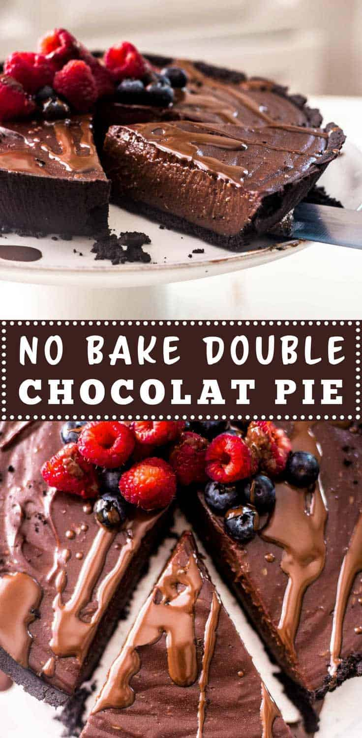 No Bake Double Chocolate Pie | No bake double chocolate pie has a chocolate crust, creamy filling and is the perfect gluten-free chocolate-filled base for all those fresh summer berries.