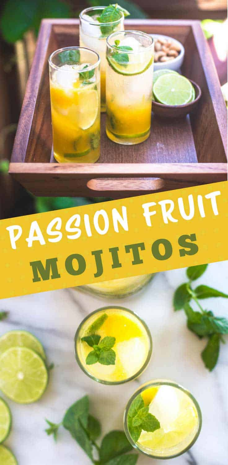 Passion Fruit Mojitos | Passion fruit mojitos with fresh mint and lime can be made in single servings or in a large batch and are great for summer entertaining!