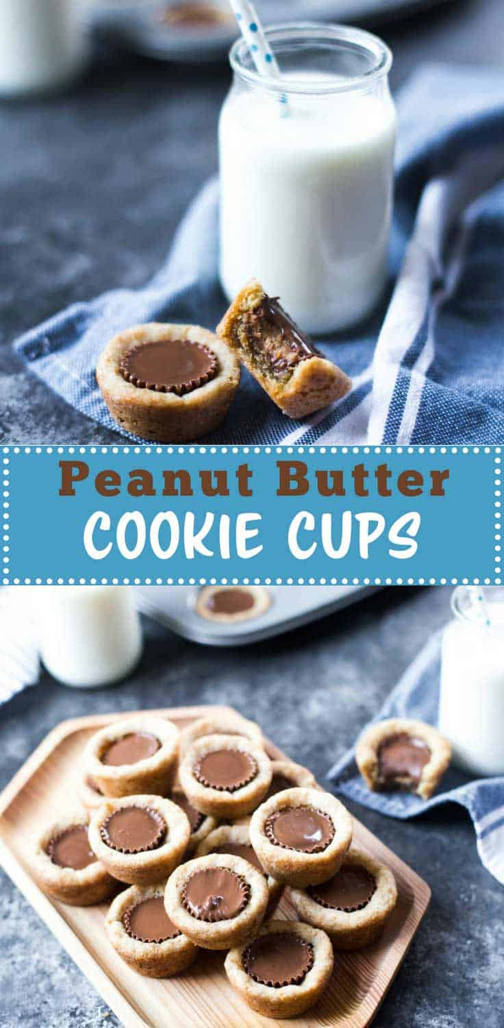 Peanut Butter Cookie Cups - Soft peanut butter cookie cups stuffed with chocolate peanut butter cups - these are always a crowd favorite. (Freezer instructions included.)